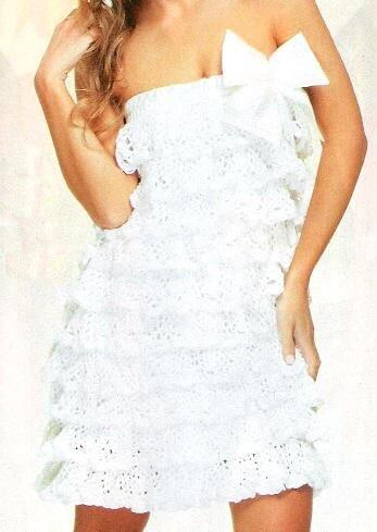 Белое летнее платье с оборками