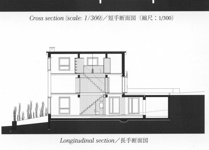 Жилой дом, гостиная, столовая, спальня, лестница в середине дома, туалет под лестницей, терраса, бойлерная, ландшафт, продольный разрез