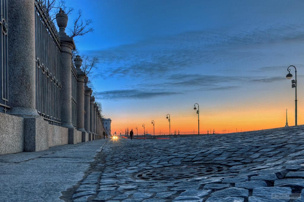 весна, Нева, закат, набережная, Петропавловская крепость, Летний сад, ограда, решётка