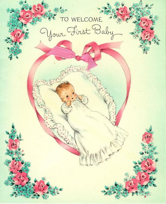 Люблю, новорожденный ребенок на открытке