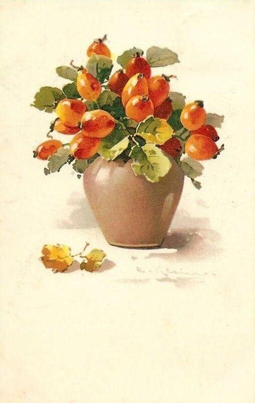 К. Кляйн. Плоды шиповника в вазе.