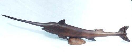 Деревянная скульптура.  Рыба- меч.
