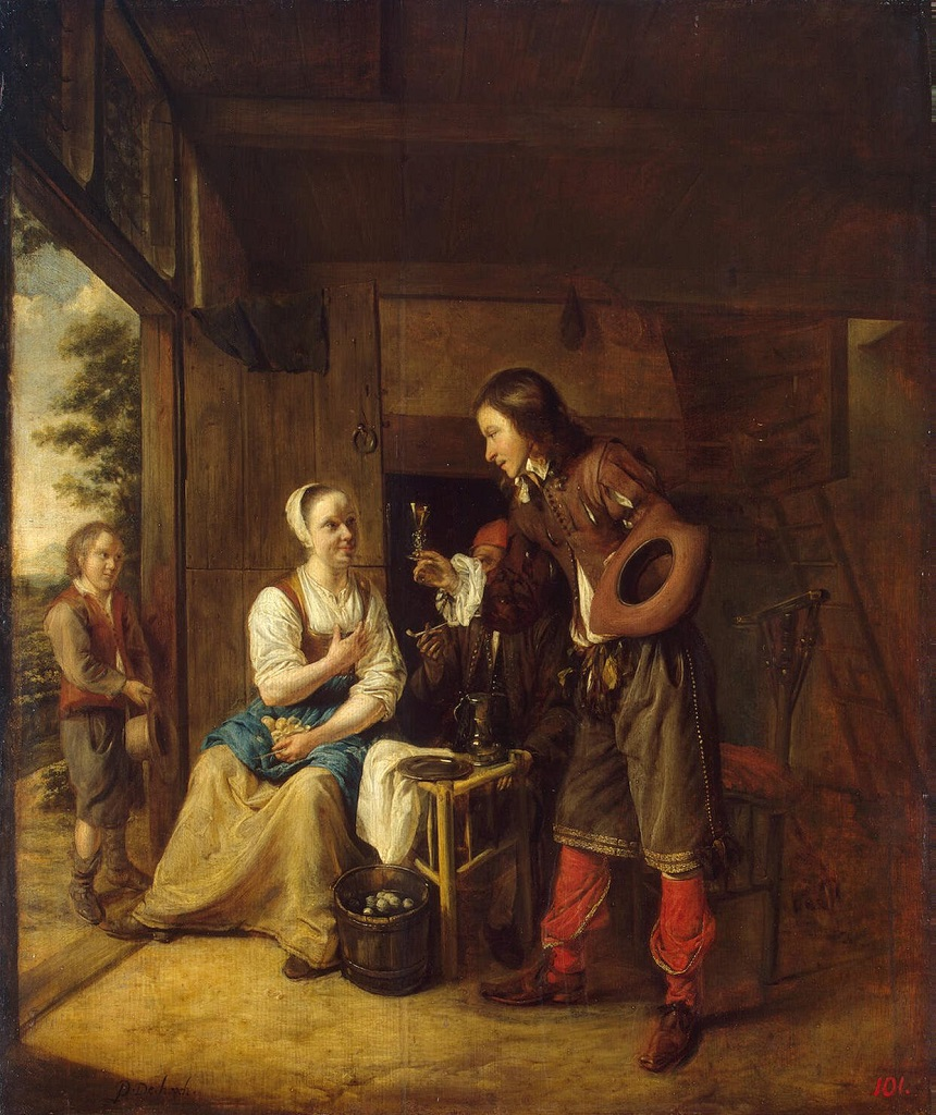 Man Offering a Glass of Wine to a  Woman.Pieter de Hooch(1629-1684);