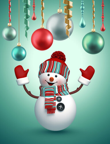 3d snowman celebrating new year, holiday background