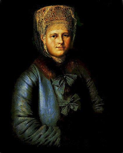 Портрет купчихи с муфтой.1780-1790. Н.х.
