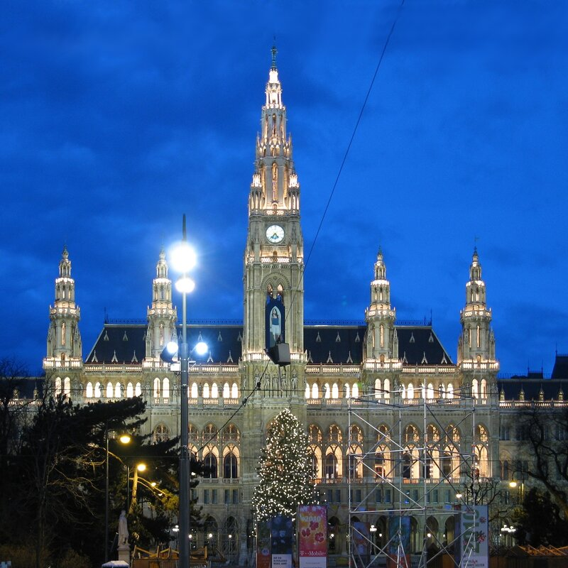 Vienna town Hall in Christmas lights