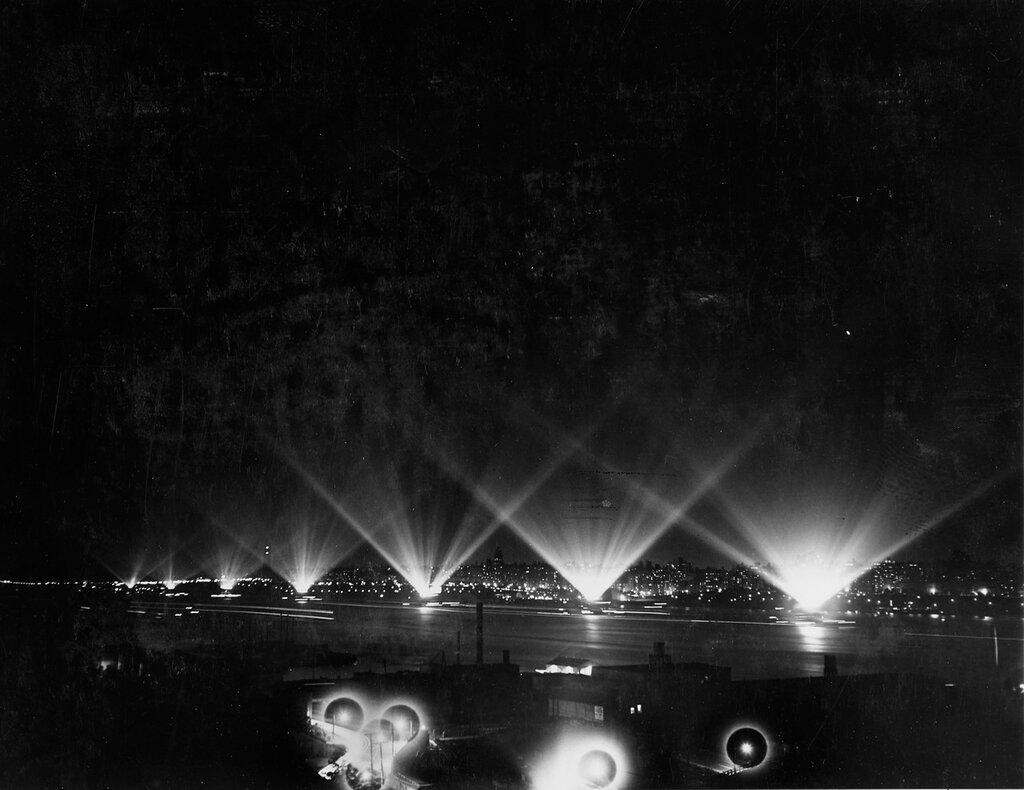 Fleet illumination during fleet review in New York City, 31 May 1934