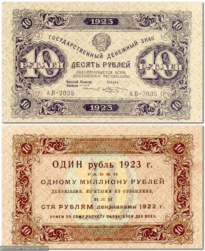 10 рублей 1923 год