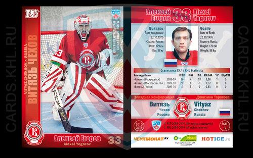 Хоккейные карточки ХК Витязь Чехов 2010/11