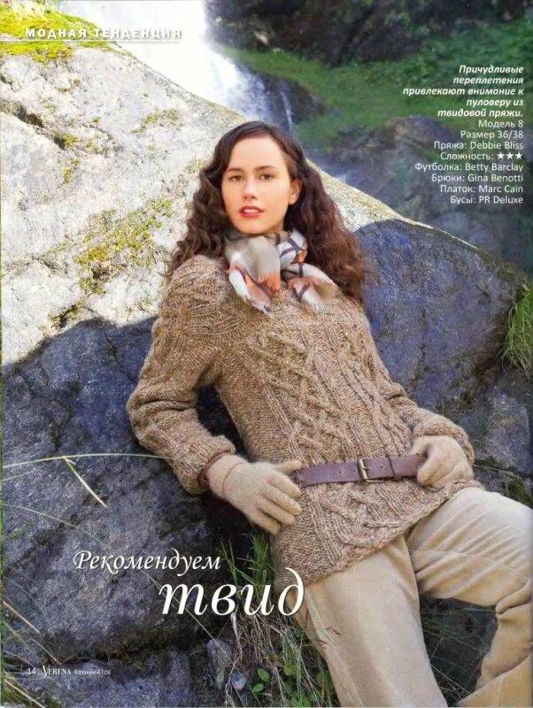 Вязание женского свитера в журналах