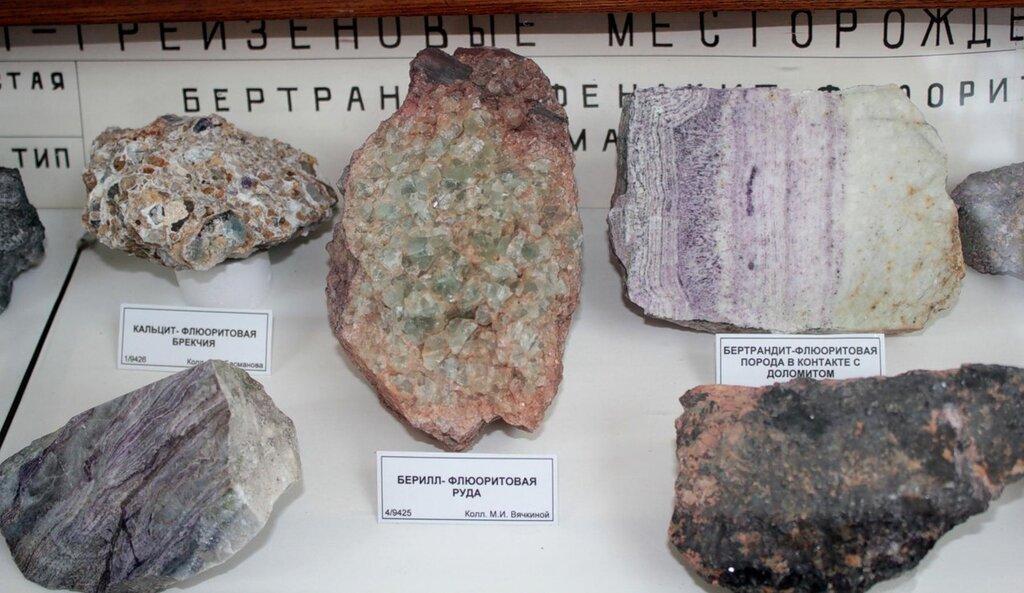 Кальцит-флюоритовая брекчия; берилл-флюоритовая руда; бертрандит-флюоритовая порода в контакте с доломитом