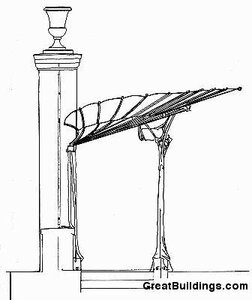 Оформление входа парижкого метро, архитекто Гектор Гимар, вид сбоку