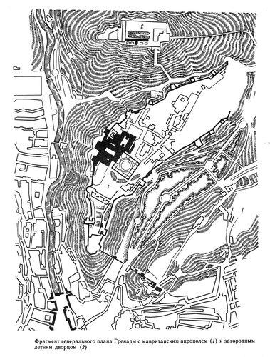Фрагмент генплана Гренады с мавританским акрополем и загородным летним дворцом