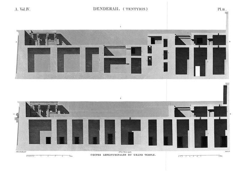 Святилище Хатхор в Дендре, Египет, продольные разрезы