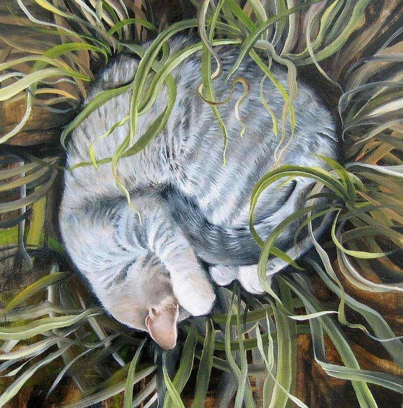 Jean Bradbury. Кот в траве.