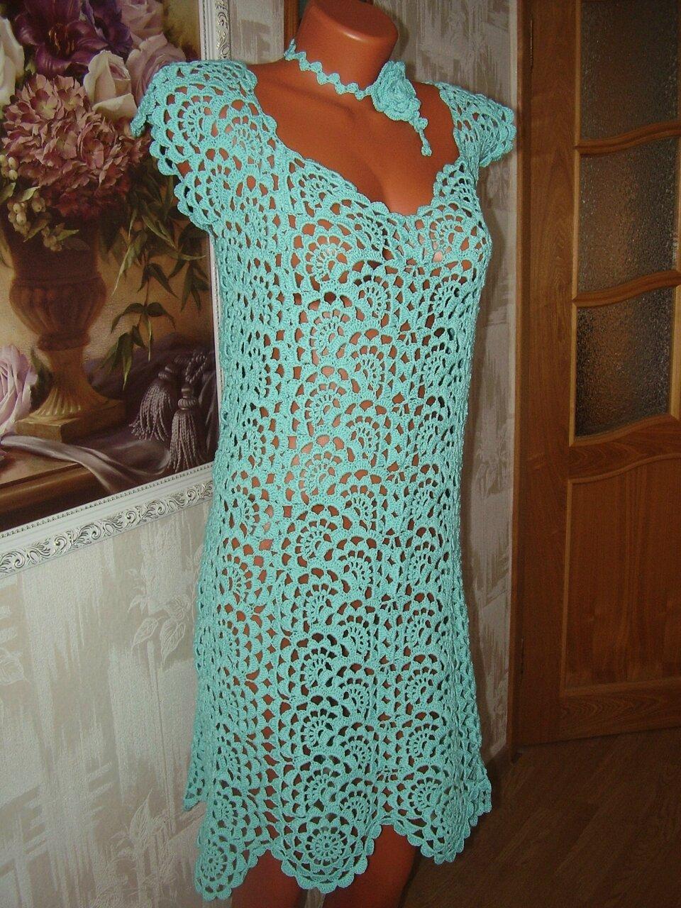 Платья из ленточного вязания крючком 747