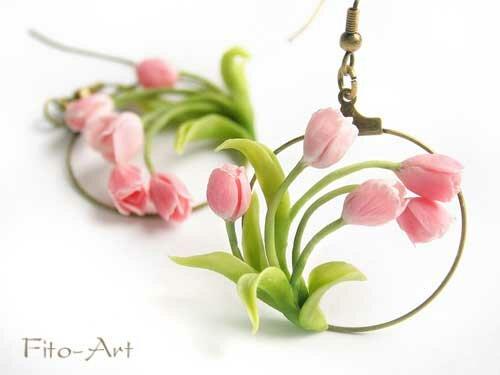 весенние серьги с розовыми тюльпанами