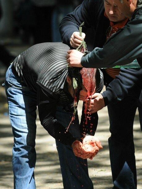 Тбилиси: сегодня - вчера Georgian opposition activists help a man