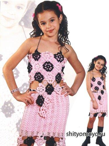 Детская розово-черная юбка, связанная крючком