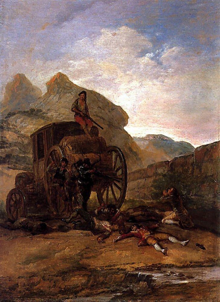Гойя. Нападение бандитов на карету. (1793-4) Brigands attacking a coach .Tinplate. 42 x 31 cm.
