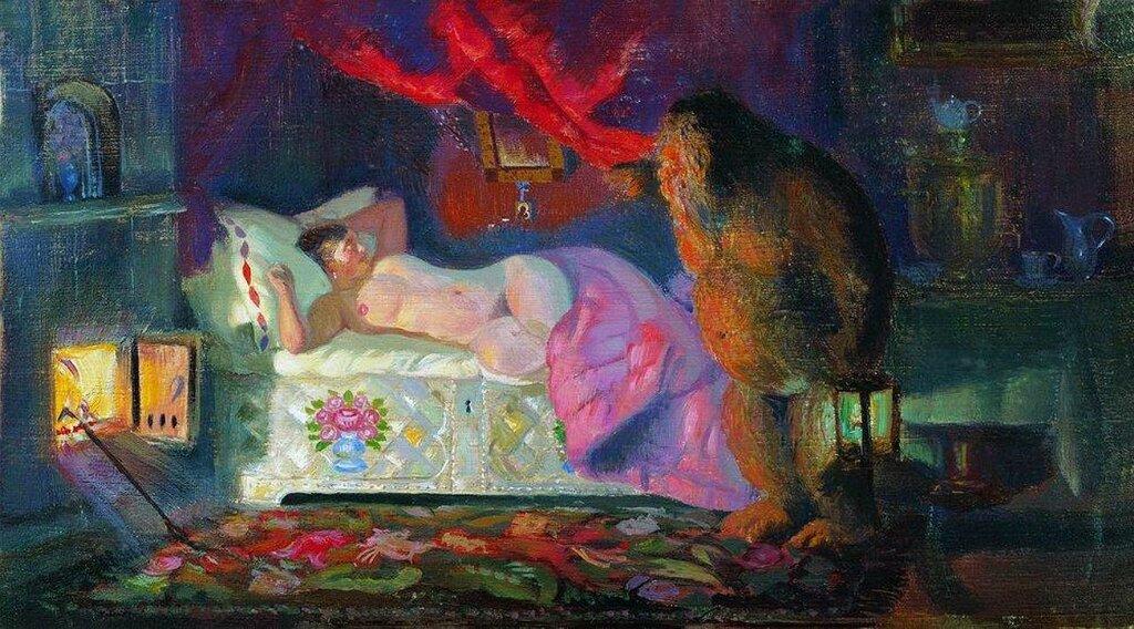 Кустодиев, Купчиха и Домовой. 1922г.