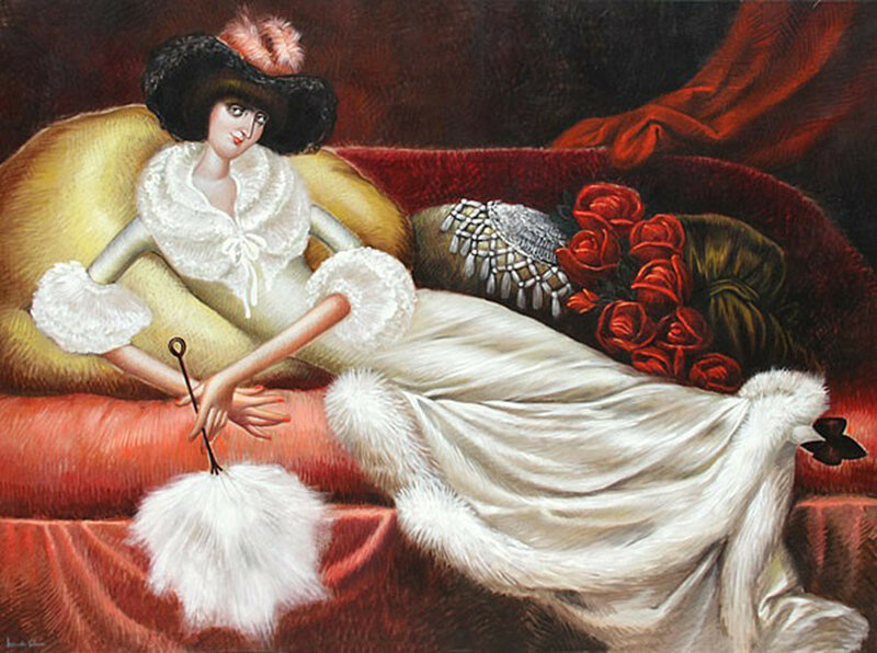 Untitled - Reclining Woman in Fur Housecoat; Leandro M. Velasco(1933-)