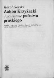 Книга Zakon Krzyżacki a powstanie państwa pruskiego