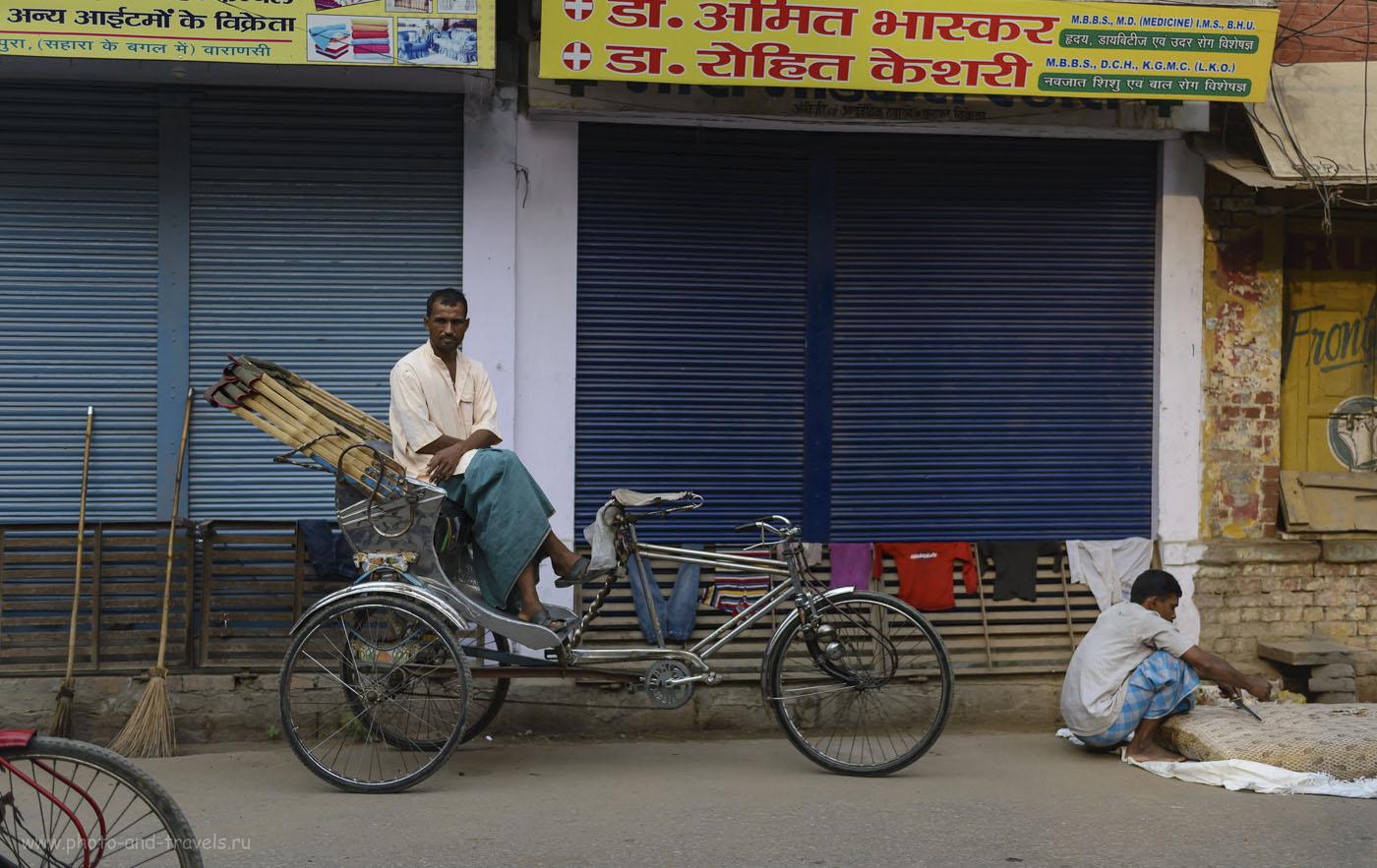 Фотография 21. Ну что поделать, если рикши – самый часто встречаемый народ на улицах Варанаси? Отзыв о поездке в Индию самостоятельно. 1/1600, 2.8, 250, 40.