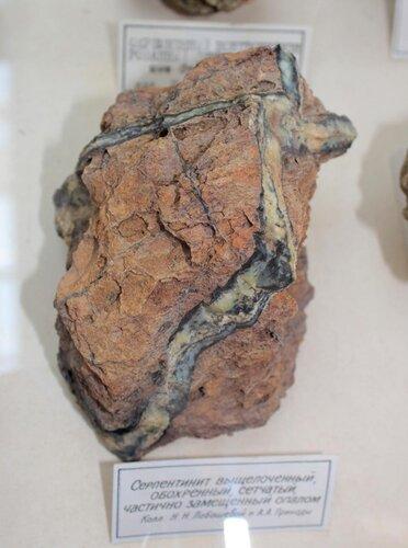 Серпентинит выщелоченный, обохренный, сетчатый, частично замещённый опалом