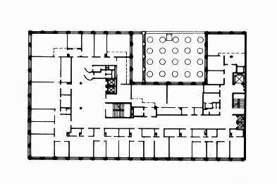 Здание государственного управления пенсионного обеспечения в Хельсинки, архитектор Алвар Аалто, план 1-ого этажа