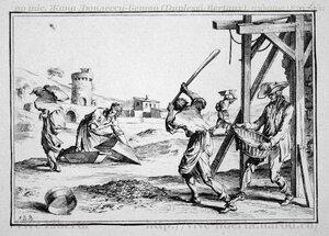 ouvriers préparant du plâtre – рабочие, приготовляющие штукатурку