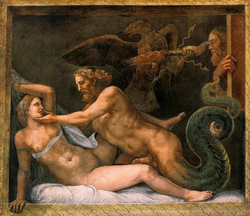 Jupiter and Olympia, c. (1526-1534) by Giulio Romano,Current location, Palazzo Te a Mantova