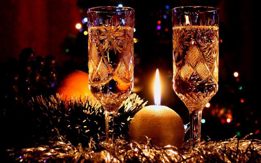 Ноый год, шампанское, новогодние свечи, новогодняя ночь
