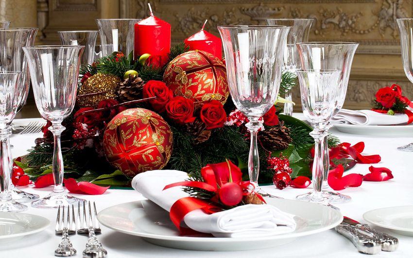 Ноый год, новогодняя сервировка стола, праздничная