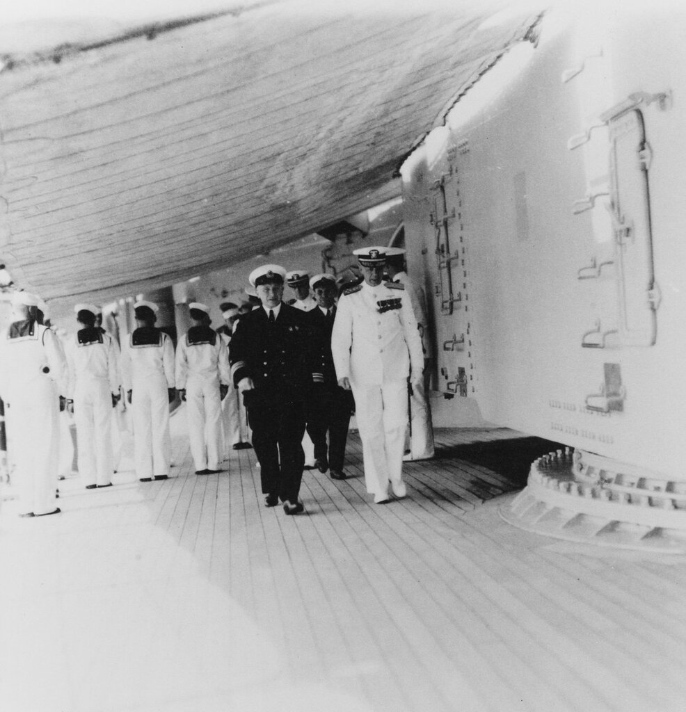 Admiral H.E. Yarnell, USN. With Russian Navy Vice Admiral Kireev, on board USS AUGUSTA (CA-31) 28 July 1937, at Vladivostok, U.S.S.R.