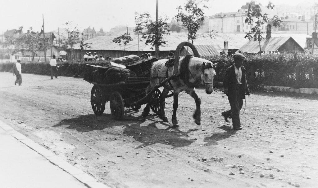 Vladivostok, U.S.S.R. Horse-drawn transportation, circa 1937.