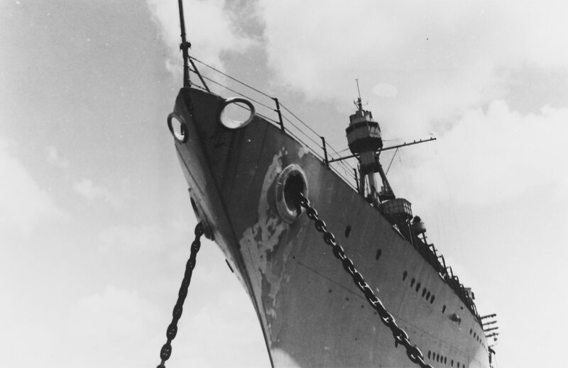 USS AUGUSTA (CA-31) View looking up the ~eyes of the ship~. Note wear and tear on the bow, circa 1937 at Shanghai, China.