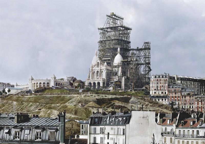 1880-е годы. Строительство колокольни базилики Сакре-Кёр на высочайшей точке Парижа — холме Монмартр