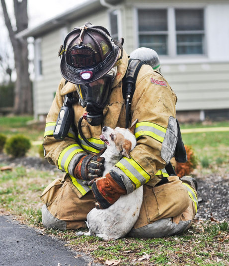 Пожарный Скотт Доусон наблюдает за состоянием собаки по кличке Финн, спасенной из горящего дома в Бл