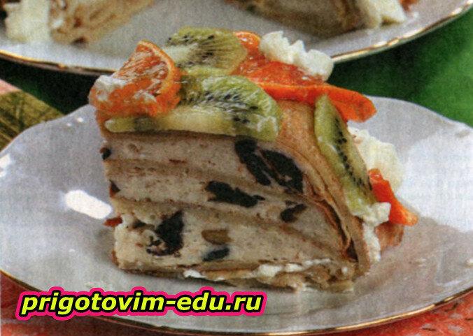 Блинчатый пирог с мандаринами и творогом
