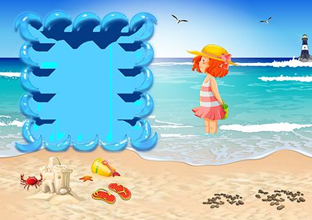 Рамка для фото со стоящей по колено в море  девочкой с рыжими волосами и желтой шляпе