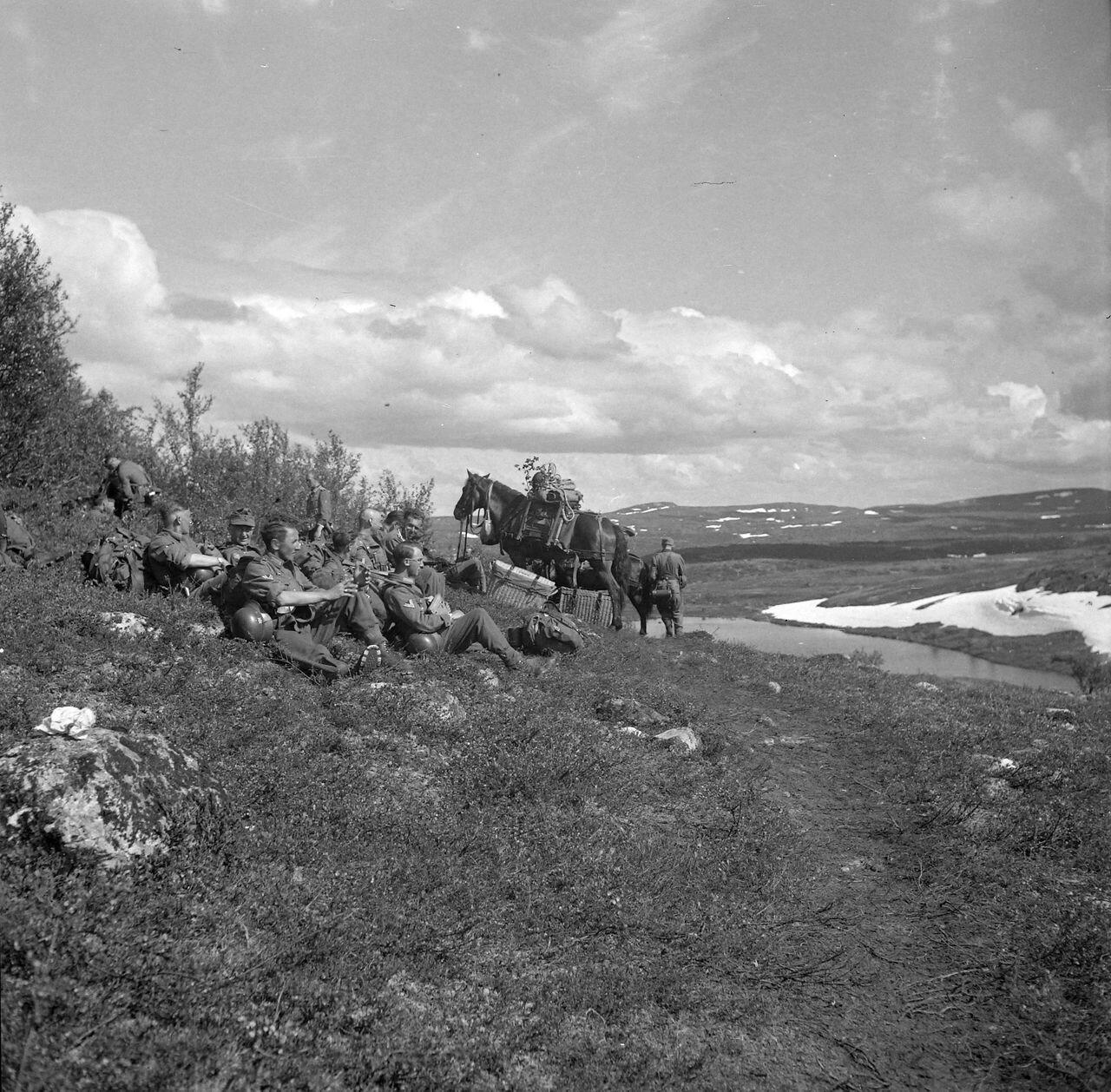 Солдаты отдыхают на лугу