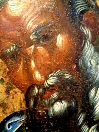 Святой Апостол и Евангелист Иоанн Богослов. Икона. Византия, 1370 - 1380-е годы. Фрагмент.