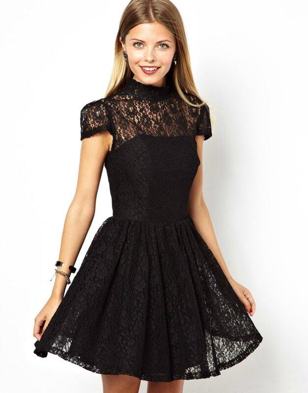 Короткие черные кружевные платья фото