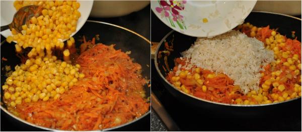 Овощи с рисом выложи на противень (подойдет размером 30 х 40 см), равномерно распредели и посоли по