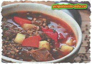 Суп-гуляш с гречкой