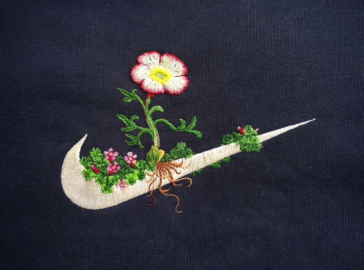 Artist James Merry Embellishes Sportswear Logos with Embroidered Plants