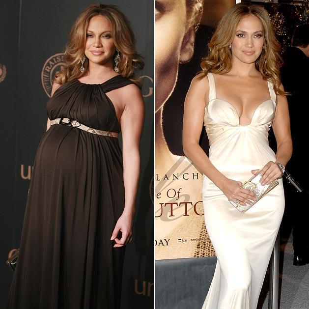 5. Дженнифер Лопес Во время беременности красотка Дженнифер набрала много лишних килограммов. Но пос