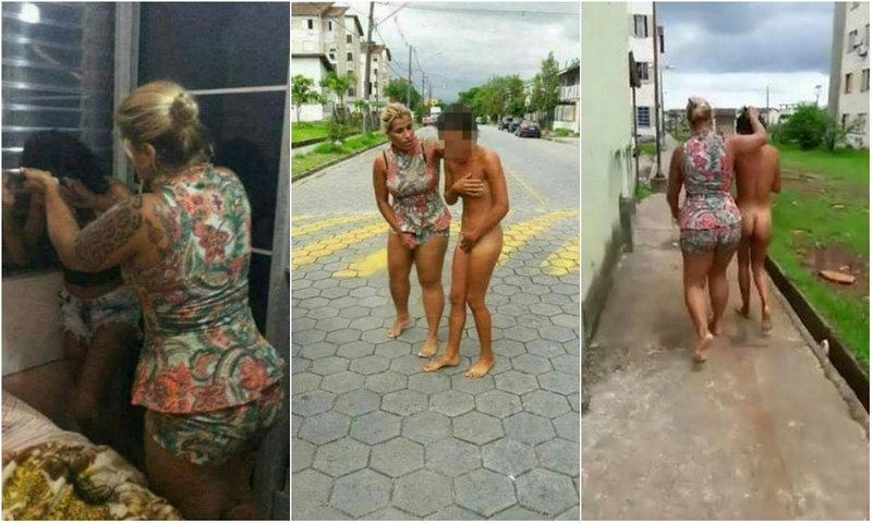 Furious wife led her husband's naked lover through the streets of Sao Paulo