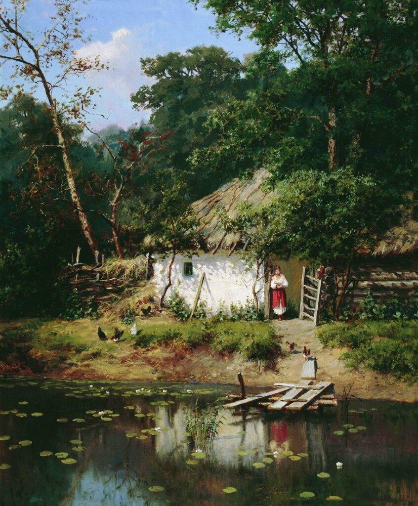 КиселевАлександр  Украинская хата. 1883Холст, масло. 55 x 45 см